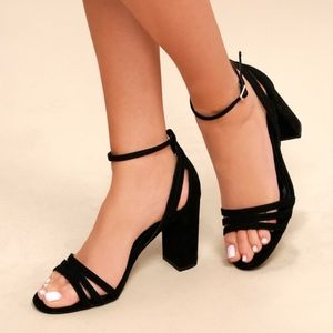 Shayla Black Suede Ankle Strap Heels by Lulus